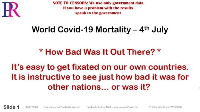 Questioning COVID - Covid-19 World Mortality Analysis - 4th July Data
